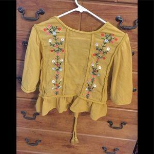 Women's crop peasant blouse